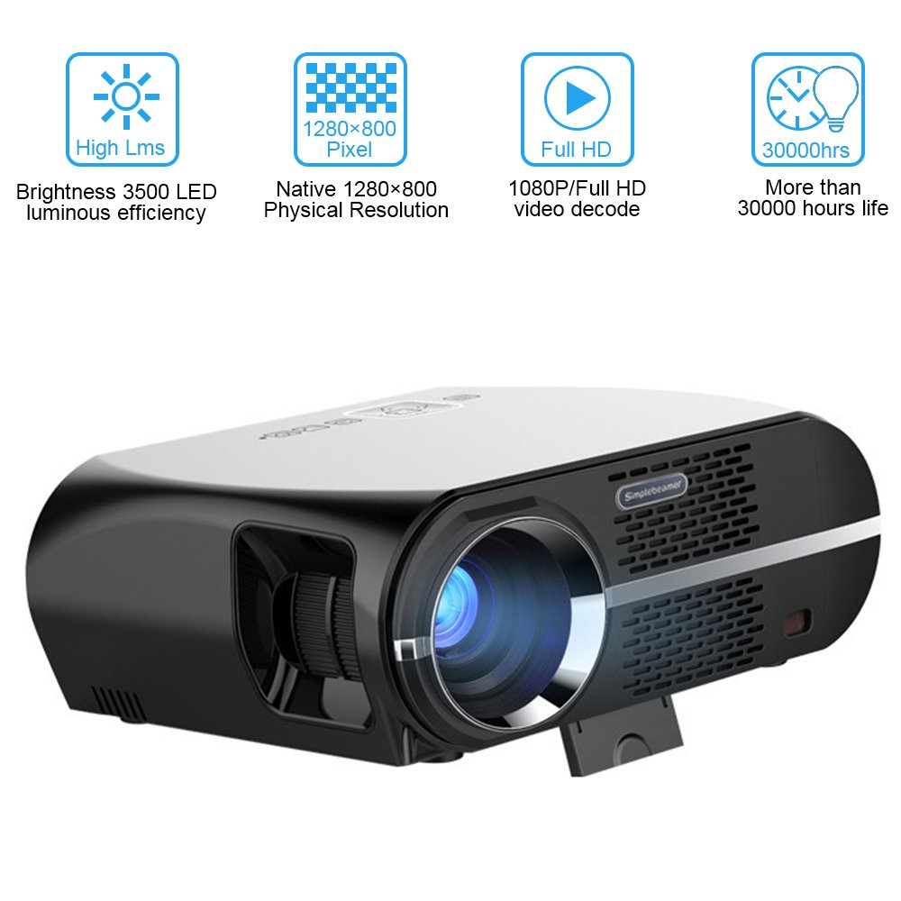 Video Projector 3500 Lumens, VPRAWLS HD LED Home Projector 1280x800 WXGA Resolution Support 1080P HDMI USB VGA for Home Cinema Theater Video Movie Projector