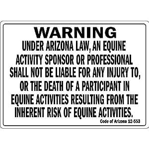 Alerta en Arizona ley una actividad equina Funny Patio decorativa señales para exteriores Home Metal Sign de aluminio
