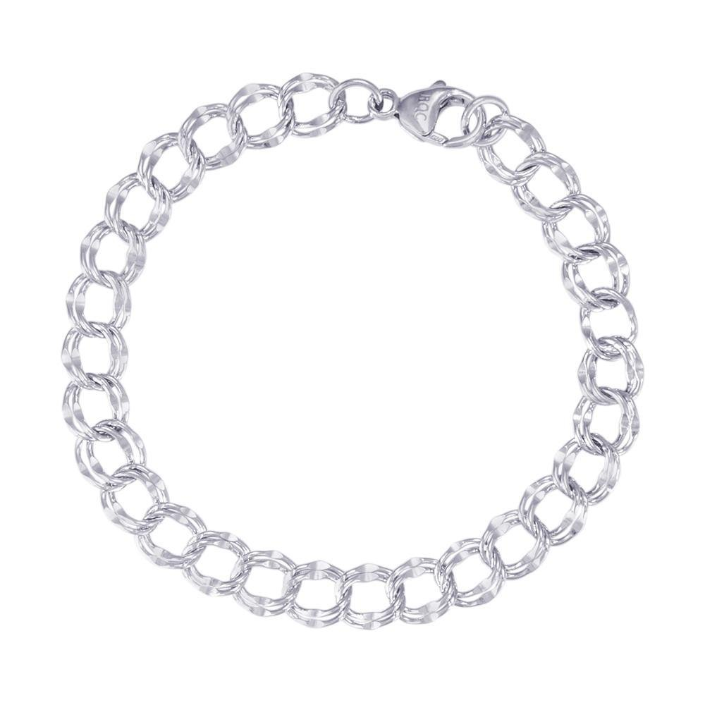Rembrandt Sterling Silver Double Link Bracelet 7 inches