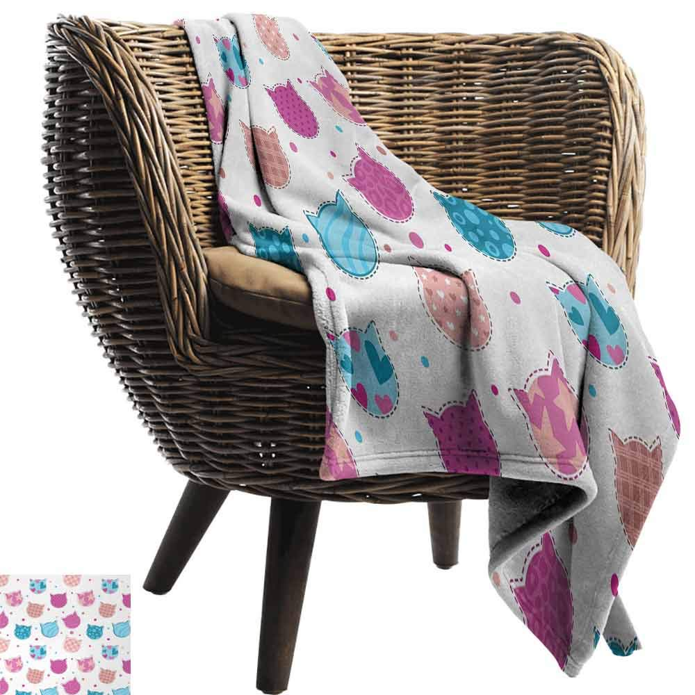 vanfan-home Teen Girls Fashion Throw Blanket,Cat Heads Silhouettes with Stars Dots and Stripes Checked Patterns Patchwork Super Soft Plush Blanket for Chair Fall Winter Spring(62''x60'')-Fuchsia Blue