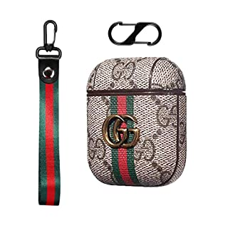 Luxury Leather Airpods Case Cute Classic Cover for Air Pod 1&2 with Lanyard and Carabiner