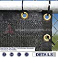 Windscreen4less Heavy Duty Privacy Screen Fence in Color Solid Black 6' x 50' Brass Grommets w/3-Year Warranty 140 GSM (Customized