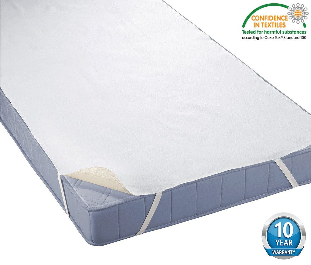 HYSENM 100% Waterproof Non-toxic Anti-bacteria Breathable Soft Terry Mattress Protector With 10 Year Warranty, white, 36X79 36X79