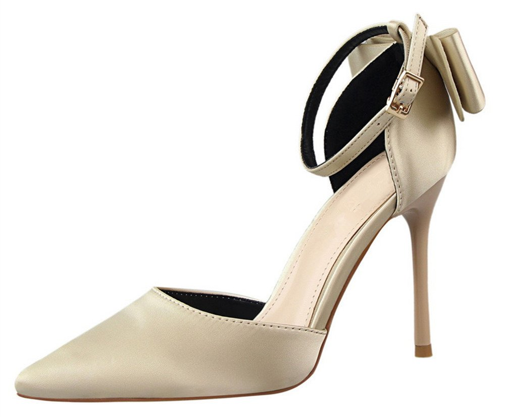 MMJULY Women's Pointed Toe Ankle Strap Bow Stiletto High Heel Satin Wedding Dress Pumps Champagne US 8.5