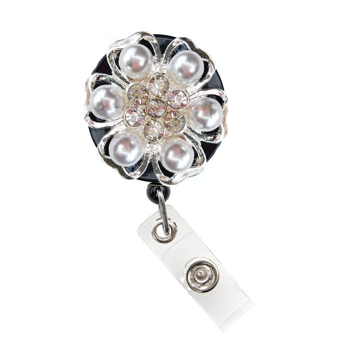 Shimmering Rhinestone Medical Field ID Badge Pull Reels Retractable ID Badge Holders (White Pearl)