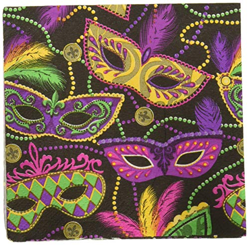 Mardi Gras Napkins (Amscan 501901 Favor, Mardi Gras Masks Beverage Napkins Party Supplies, One Size,)