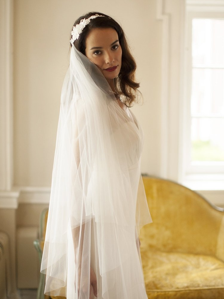 Runway Style Cascading 2-Layer Side Veil with White Crystal Lace Headband