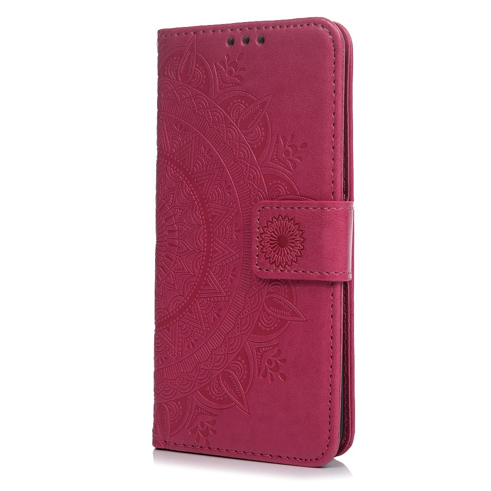 Huawei P20 Case Leather, Shockproof Premium PU Leather Flip Wallet Case Embossed Totem Flower with Kickstand ID Card Holder Folio Magnetic Closure Protective Skin Case Cover for Huawei P20 Gold Tophung