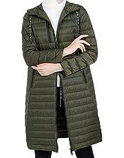 Womens Autumn Long Jacket - Water Resistant Rain Coat, Lightweight Ladies Jacket, 2 Front Pockets, Warm - for Wet Weather, Walking