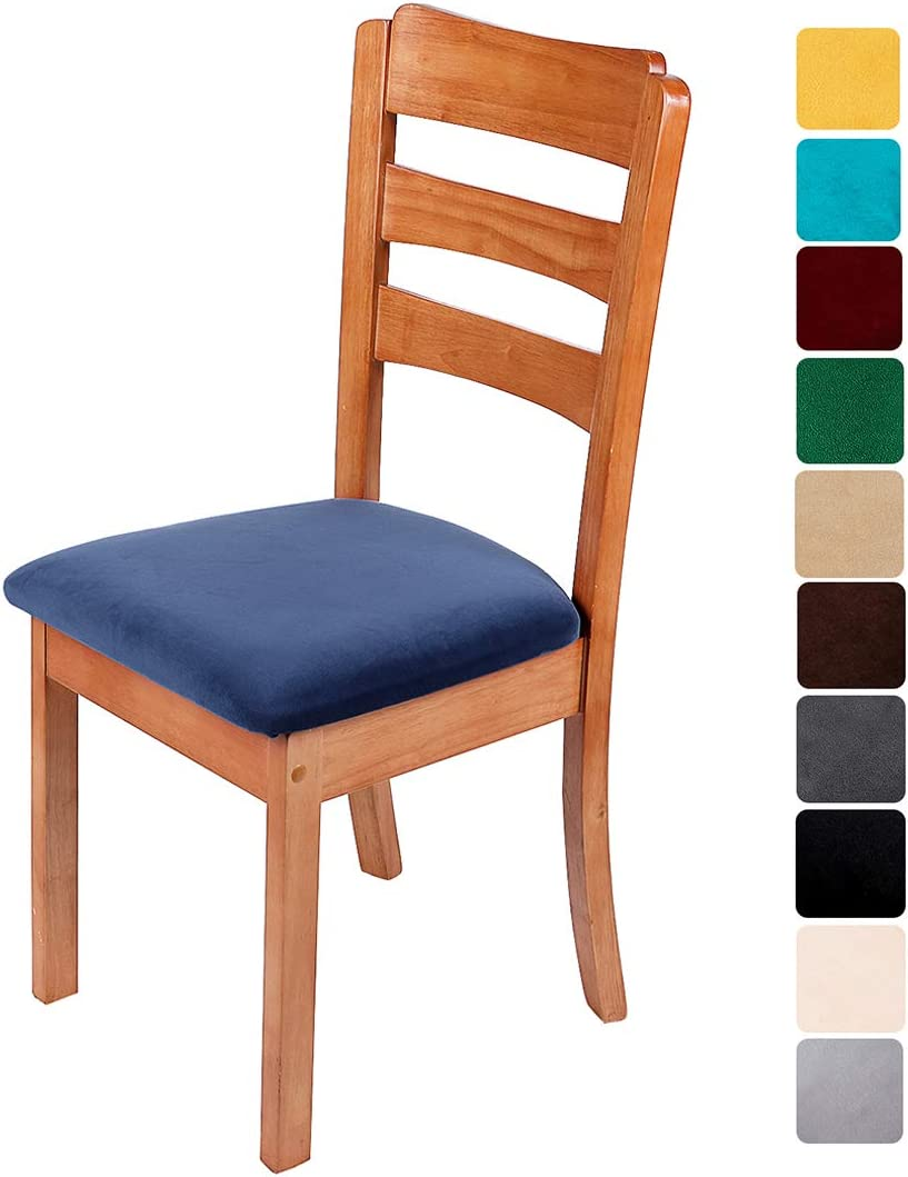 smiry Original Velvet Dining Chair Seat Covers, Stretch Fitted Dining Room Upholstered Chair Seat Cushion Cover, Removable Washable Furniture Protector Slipcovers with Ties - Set of 6, Navy Blue