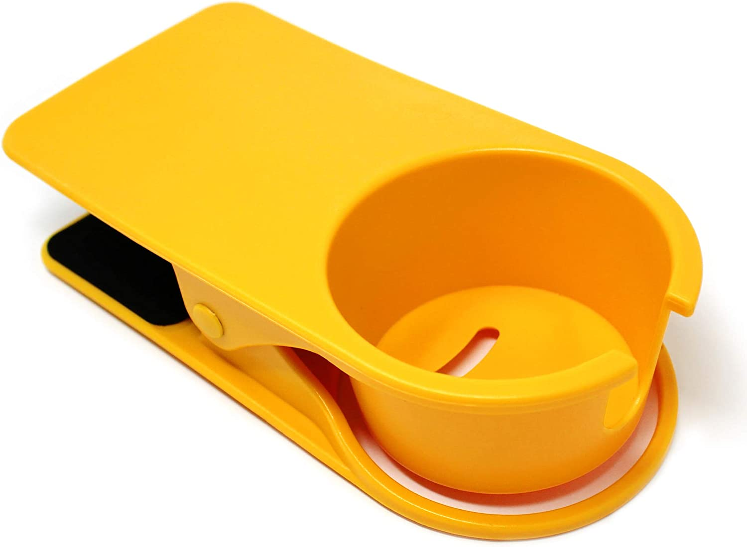 Sometheme Special Cup Holder Clip for Home Office Table Desk Edge Coffee Mug Holder Portable Cupholder Caddy Clamp (Yellow)