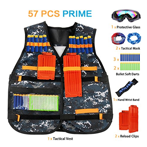 Airsoft Tactical Firepower Mask (Kids Elite Tactical Vest Kit for Nerf Guns N-Strike Elite Series With 50 Pcs Refill Darts, 2 Reload Clips, 2 Face Tube Mask,1 Hand Wrist Band and 1 Protective Glasses)