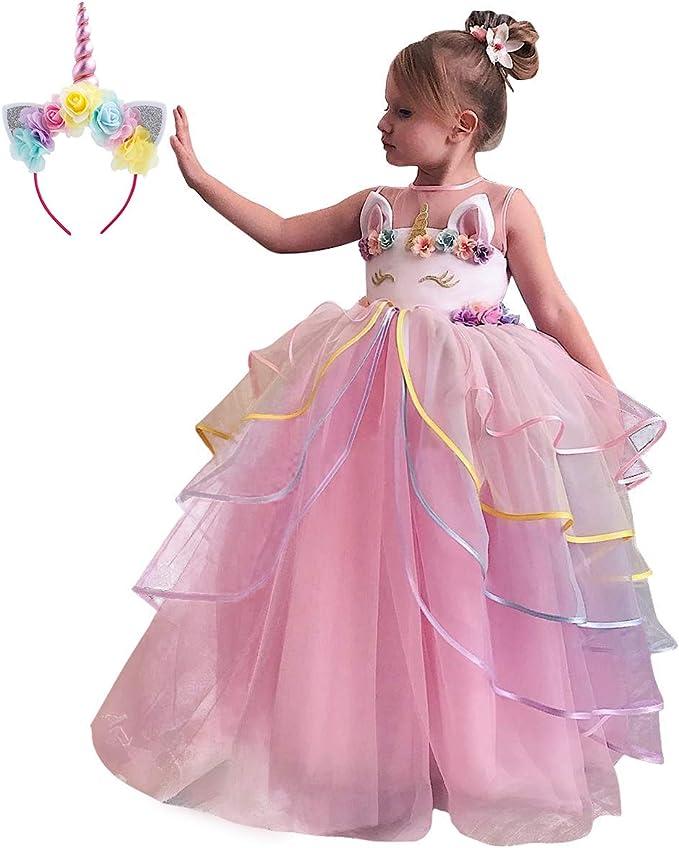 Niña Vestido de Fiesta Princesa Disfraz de Unicornio Ceremonia ...