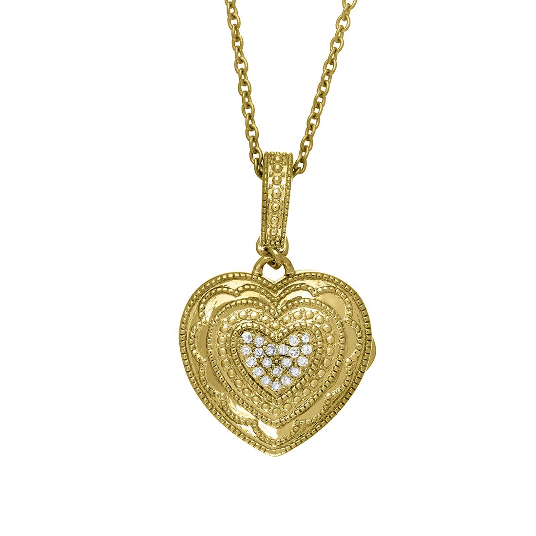 With You Lockets Fine Yellow Gold Custom Photo Heart Locket Necklace That Holds Pictures for Women The Rose