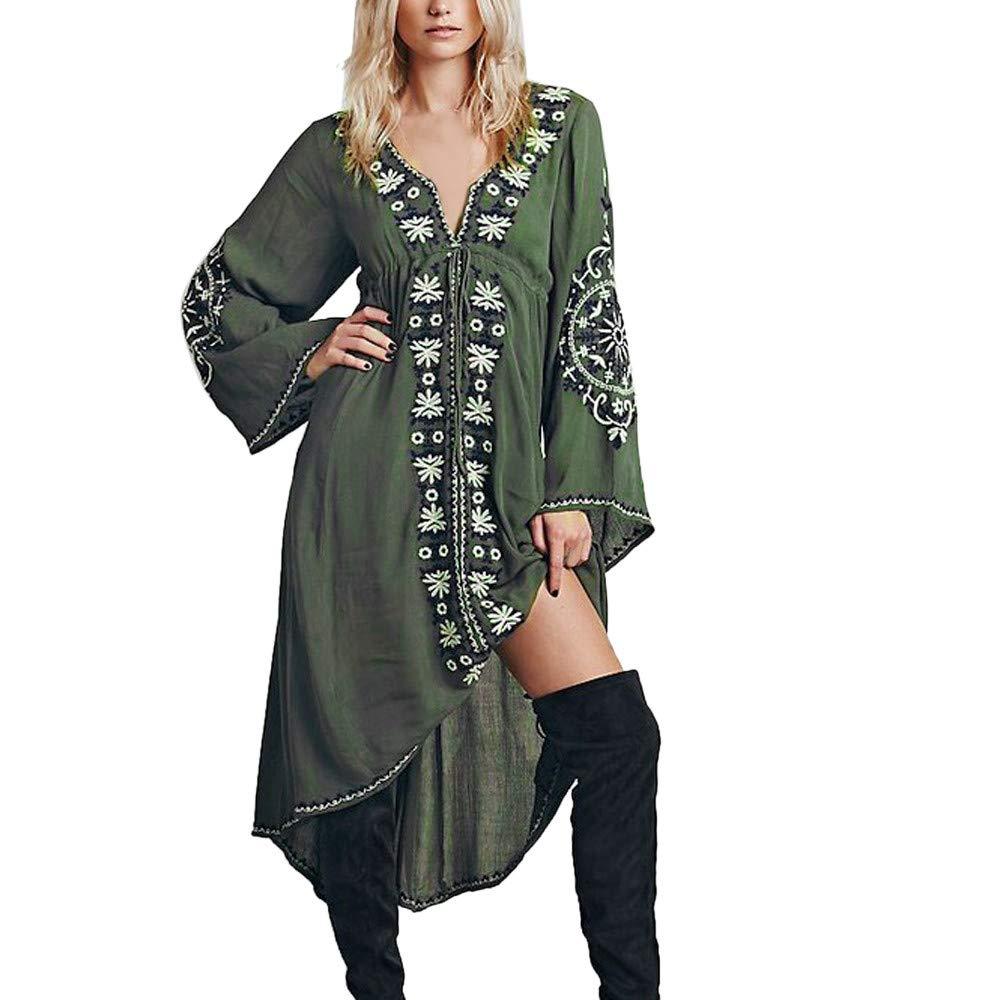 Women's Bohemian V-Neck Summer Blouse Loose Flower Embroidery Cardigan Chiffon Beachwear Dress Army Green