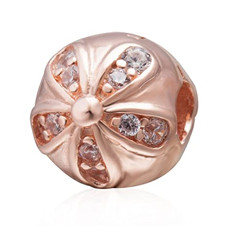 Amazon Com Daisy Charm With Rose Gold 925 Sterling Silver Flower
