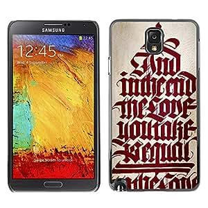 PC/Aluminum Funda Carcasa protectora para Samsung Note 3 N9000 N9002 N9005 bible red calligraphy text medieval quote / JUSTGO PHONE PROTECTOR