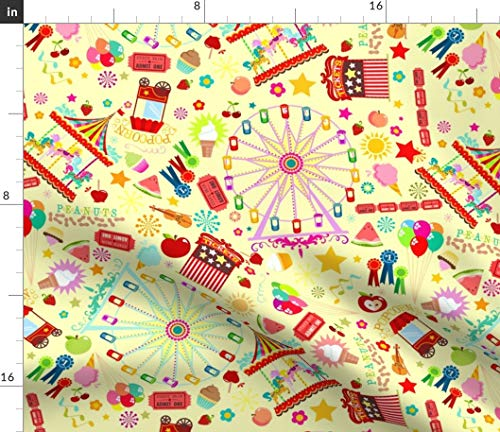 (State Fair Fabric - Magical Fairground Food Snacks Rides Yellow Carousel Ferris Wheel Music Balloons Print on Fabric by the Yard - Petal Signature Cotton for Sewing Quilting Apparel Crafts Decor)