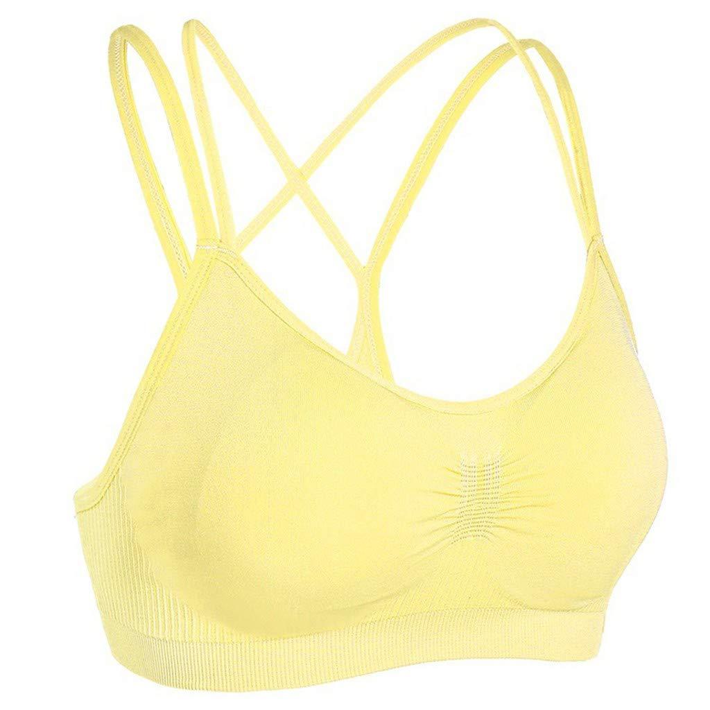 POHOK Women Yoga Tops Women Sling Stretch Sport Bra Padded Fitness Tank Tops Workout Gym Yoga Vest (M,Yellow)