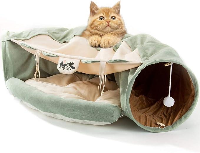 Hipidog 猫 トンネル 猫ベッド キャットトンネル 半月型 折りたたみ式 運動不足対策
