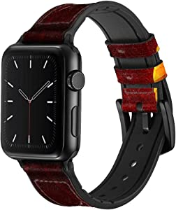 CA0063 Red Dragon Leather & Silicone Smart Watch Band Strap for Apple Watch iWatch Size 38mm/40mm