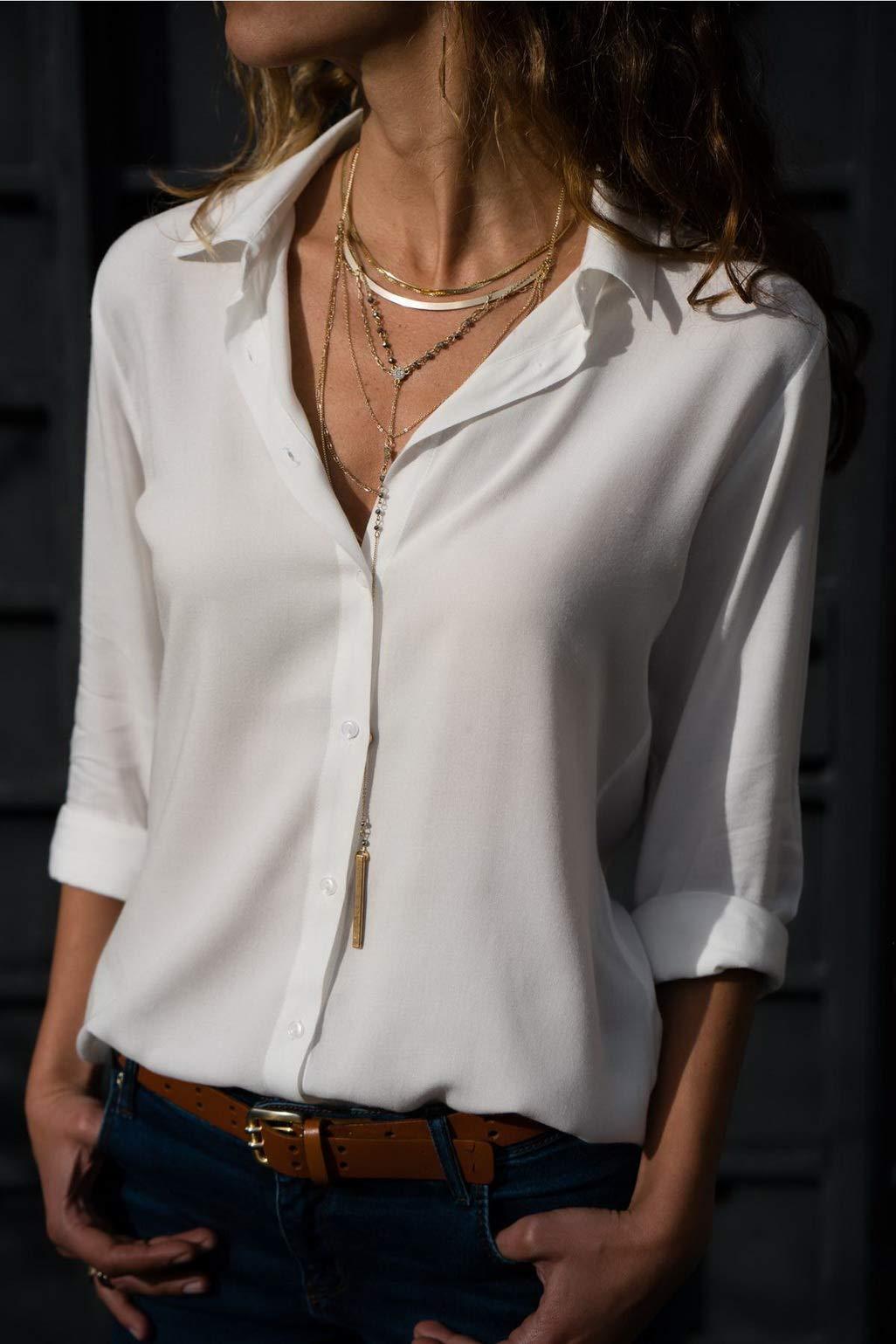 Fafalisa Autumn Tops Blouses Women Elegant Long Sleeve Solid V-Neck Chiffon Blouse Wear Shirts Plus Size(White,XXXL)