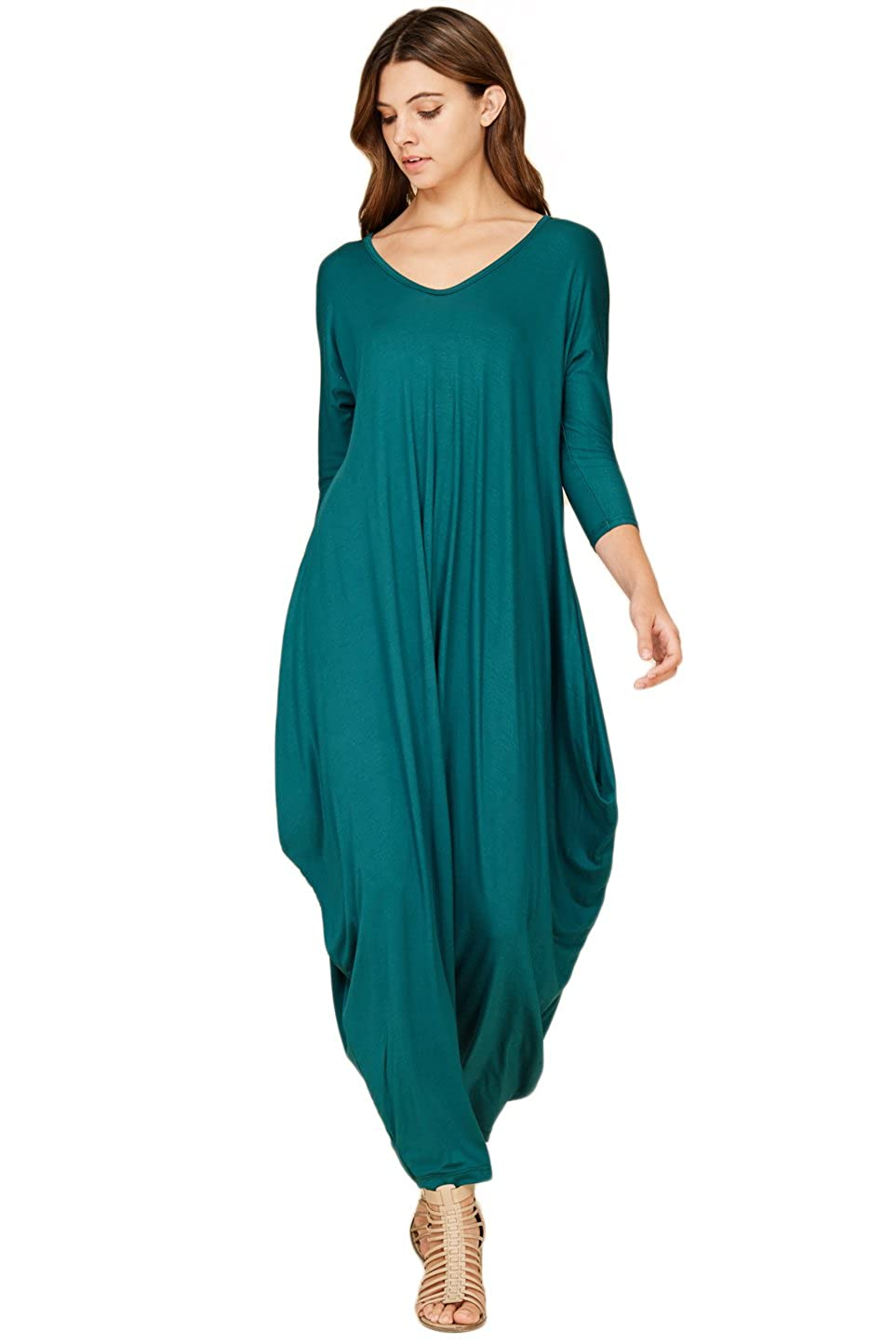 Annabelle Women's Solid Harem Pant Long Sleeve Pocket Harem Pant Jumpsuit