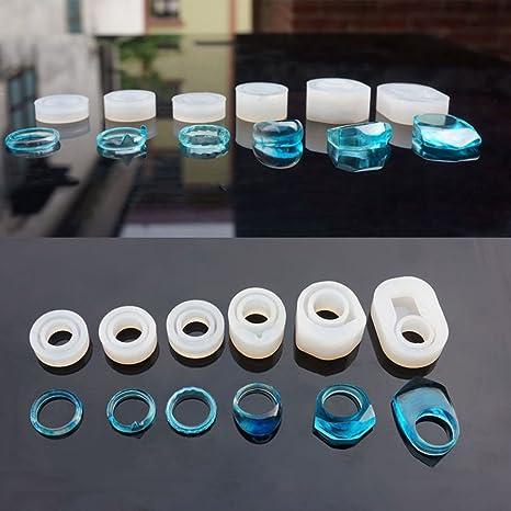 SODIAL 6 Piezas Surtidas de Anillo de Silicona DIY Molde para la Fabricacion de Joyas de