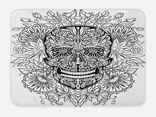 Lunarable Skull Bath Mat, Gothic Smiling Skeleton Head with Flowers Day of The Dead Mexican Traditional Print, Plush Bathroom Decor Mat with Non Slip Backing, 29.5 W X 17.5 W Inches, Black White by Lunarable