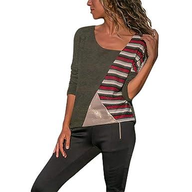 Sweatshirt Damen Mode Oansatz Langarm Frauen Patchwork