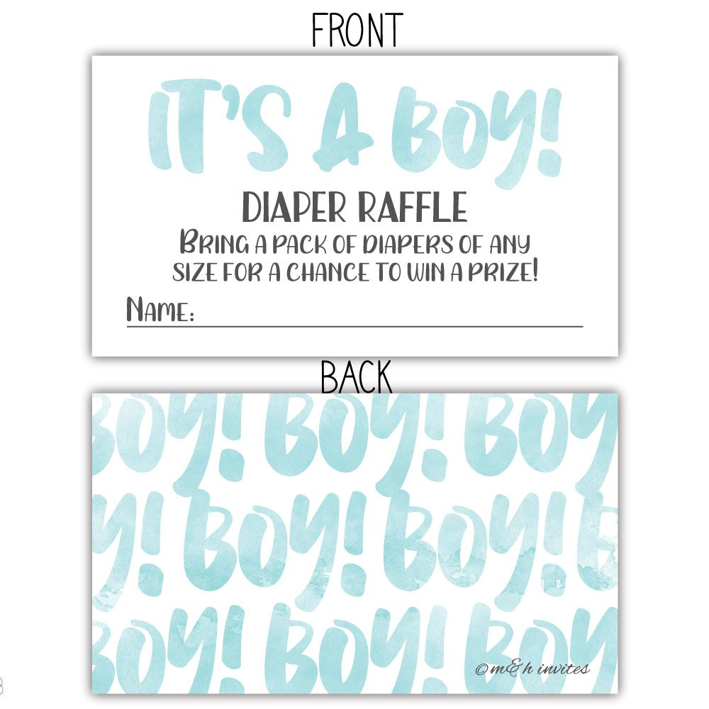 50 Blue Watercolor It s A Boy Diaper Raffle Tickets – Boy Baby Shower Game
