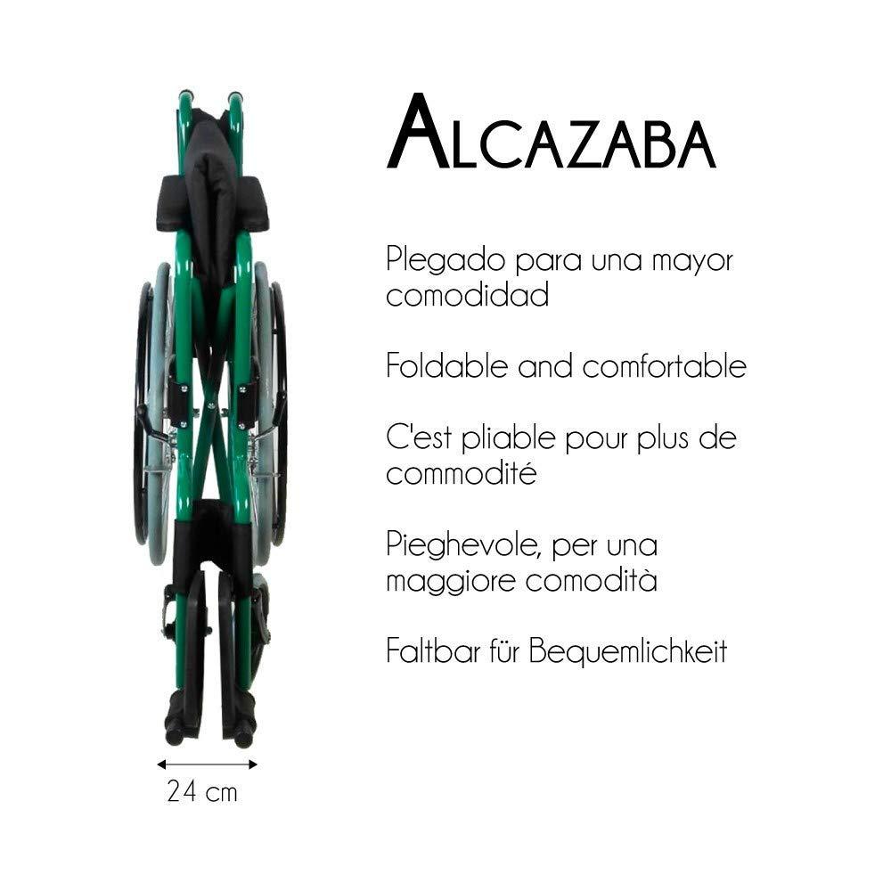 Mobiclinic Silla de Ruedas Plegable | autopropulsable | Ancho Asiento 46 cm | Verde | Alcazaba: Amazon.es: Hogar