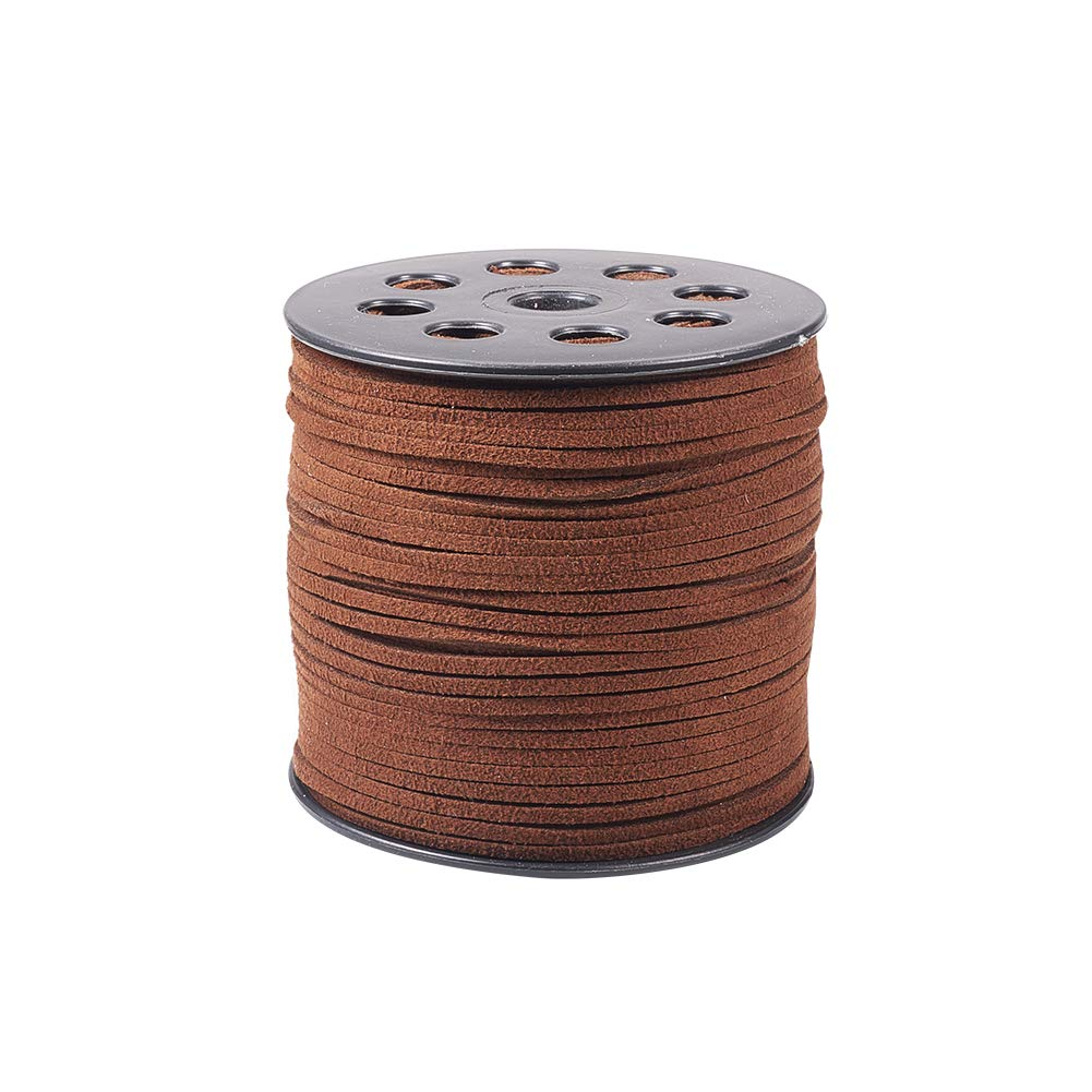 Pandahall 1 Roll (100 Yards, 300 Feet) Micro-Fiber Faux Leather Suede Cord String with Roll Spool, 2.7x1.4mm (Black) PH PandaHall wh-LW-R007-1090