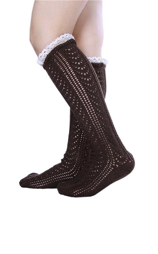 Yue Lian Damen Mädchen Winter Dicke Spitze Strick Lang Socken ...