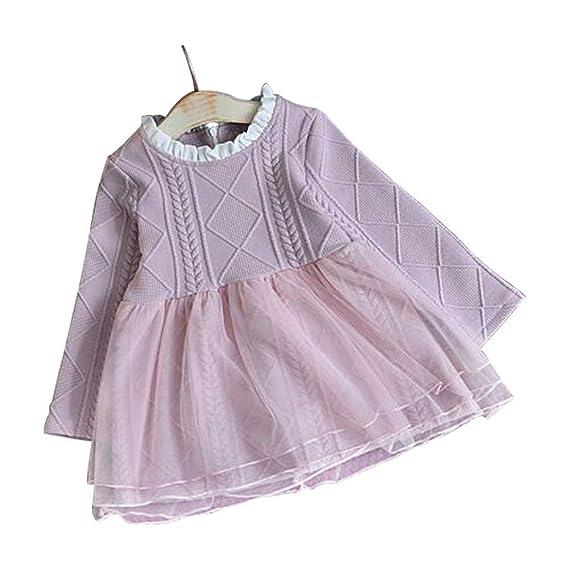 Wang-RX Vestido de Manga Larga para niñas bebés Vestido de ...