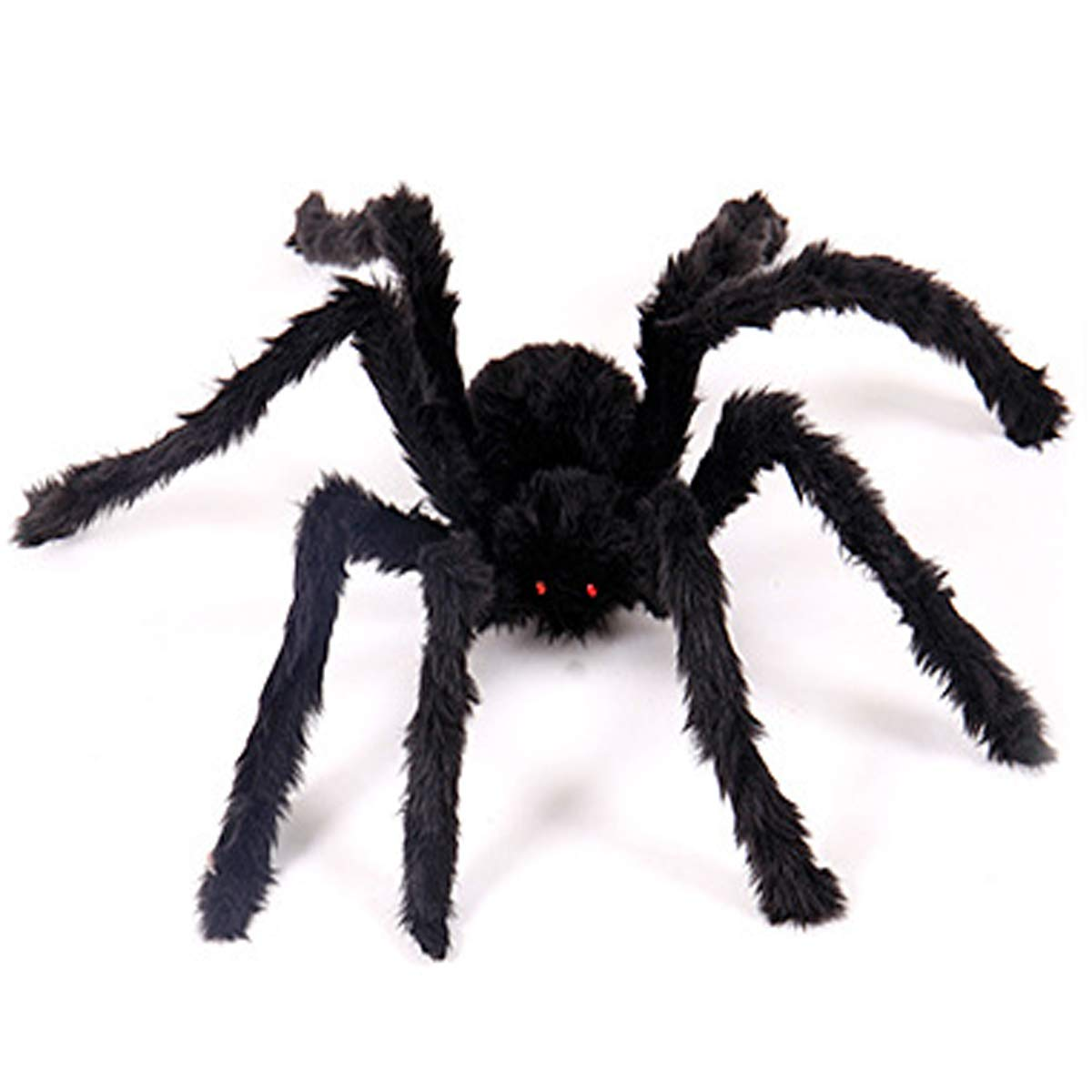 Aunavey Four Size Halloween Realistic Hairy Spiders, Valuable Halloween Props, for Indoor and Outside Decorations (23.6'', Black)
