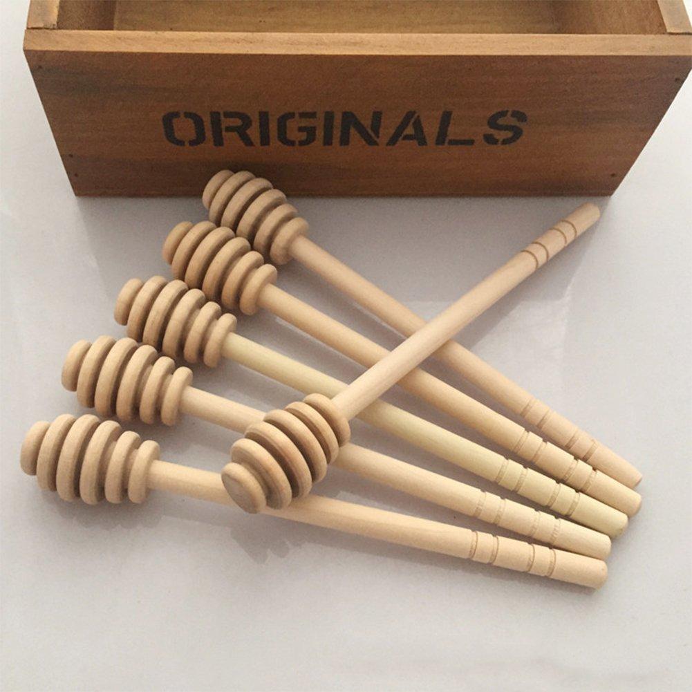 elegantstunning 1PC/50PCS Creative Wooden Honey Stirring Stick Jam Muddler Kitchen Tool 50pcs
