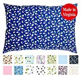Toddler PILLOWCASE (14'' x 19'') - 100% Cotton Percale - Envelope Style - Made in Virginia (Blue Fishies)