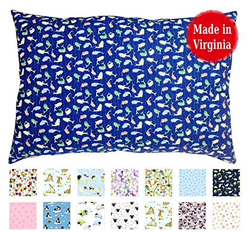 Toddler PILLOWCASE (14'' x 19'') - 100% Cotton Percale - Envelope Style - Made in Virginia (Blue Fishies) by A Little Pillow Company