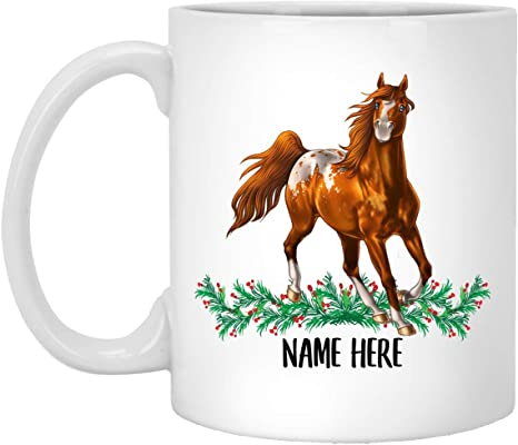 Funny American Paint Horse Buffalo Personalized Name Christmas Gift White Coffee Mug 11 Oz Kitchen Dining