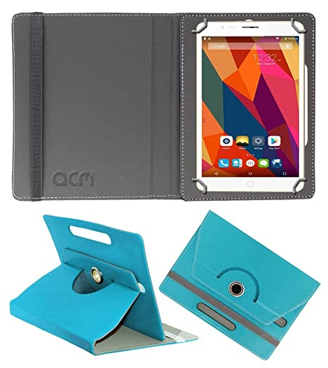 Acm Rotating Leather Flip Case Compatible with Swipe Strike 4g Tablet Cover Stand Greenish Blue Tablet Accessories