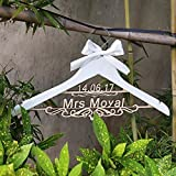 Custom Wood Bridal Last Name Hanger ,Wedding Hanger Personalized with Date and Name, Rustic Wedding Dress Hanger