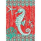 Seahorse and Starfish – Standard Size, Decorative Double Sided, Licensed and Copyrighted Flag – MADE IN USA by Custom Decor Inc. 28 Inch X 40 Inch approx.