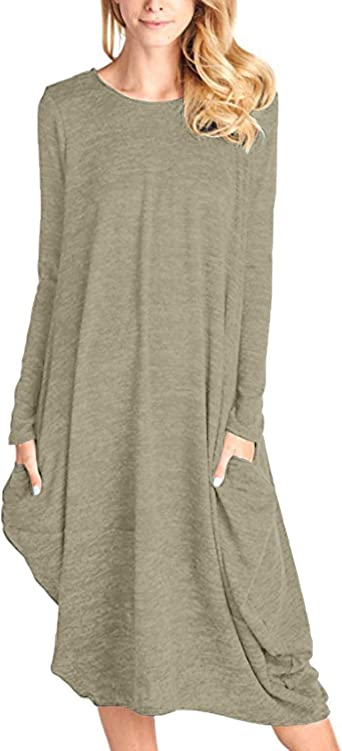 CNFIO Womens Long Sleeve Dresses Casual Loose Midi T Shirt Dress with Pockets