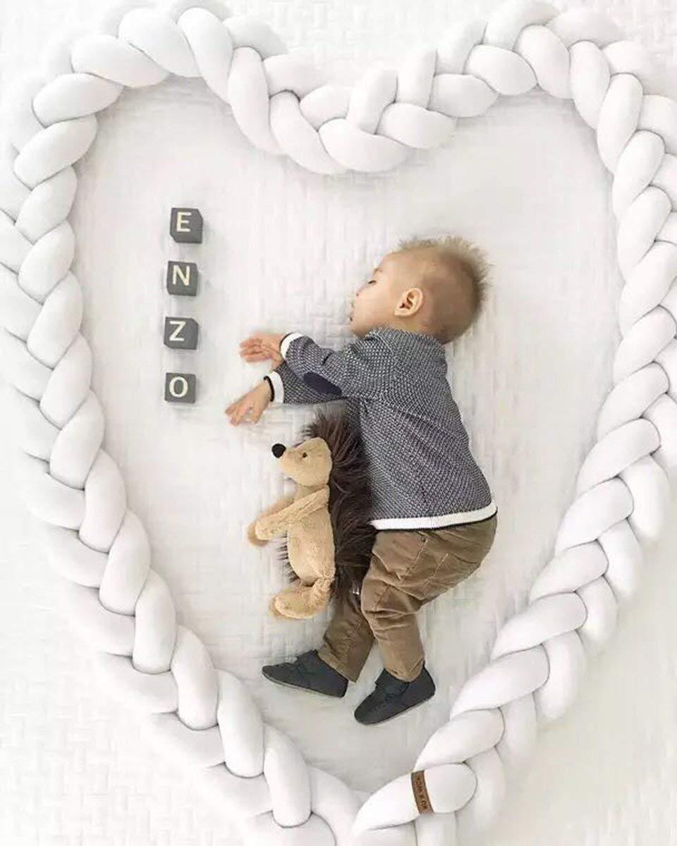 crib bumper 300cm, White + blue + gray Soft knot plush pillow baby toddler and childrens fashion kindergarten cradle decoration