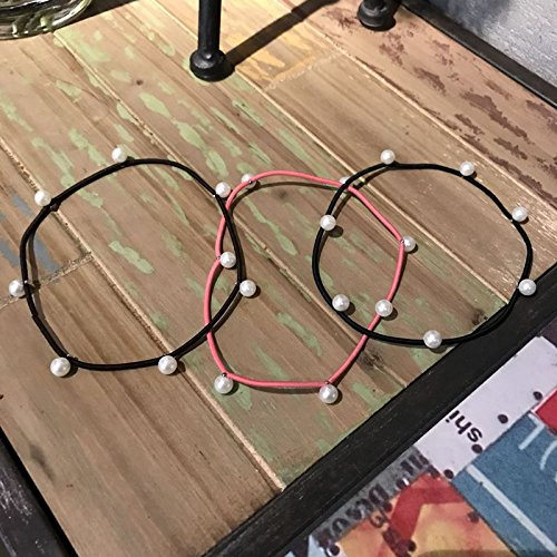Rivet Beading - South Korea imported high elastic simple pearl beading rivet multi-colored hair band rubber band hair band hair Shengpi sets for women girl lady