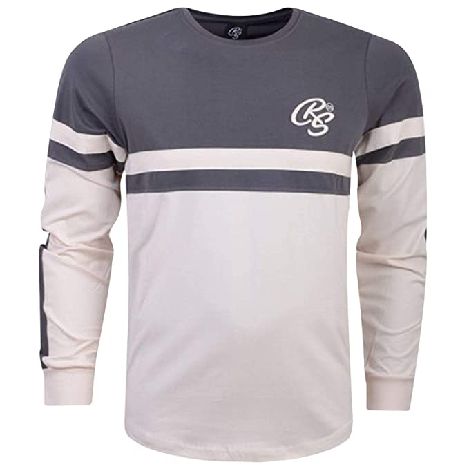 6478f2141f36 Crosshatch Mens Long Sleeve Top Printed Embroidery Crew Neck Fashion Top  Tee: Amazon.co.uk: Clothing
