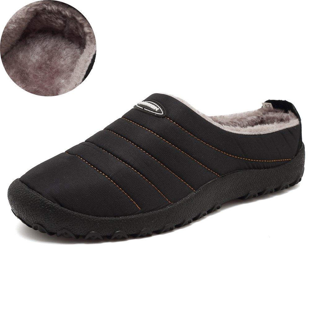 KEESKY Winter House Slippers Waterproof Anti-Slip Shoes For Men and Women Indoor/Outdoor Black Women Size 13.5/Men Size 12.5