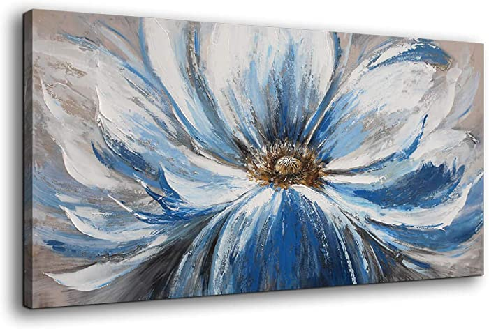 Mofutinpo Flower Canvas Wall Art for Living Room Large White Blue Flower Picture Giclee Print Painting Wall Decor Framed Artwork Ready to Hang for Home Bedroom Wall Decoration Size 24x48