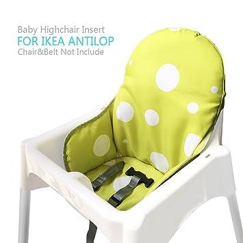 Zama Chaise Haute Coussin Housse Pour Ikea Antilop Bébé Childs Chaise Lavable Pliable N Inclut Pas La Chair Haute Et La Ceinture De Sécurité Vert